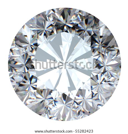 Round brilliant cut diamond perspective isolated on white background - stock photo