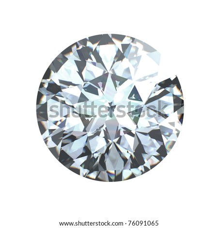 Round brilliant cut diamond perspective isolated on white background