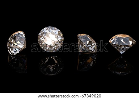 Round brilliant cut diamond perspective on black background