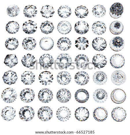 Round brilliant cut diamond perspective on white background - stock photo