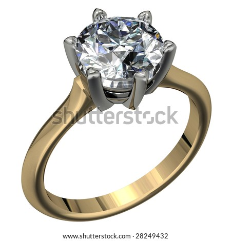 round brilliant cut diamond two tone solitaire engagement ring on white
