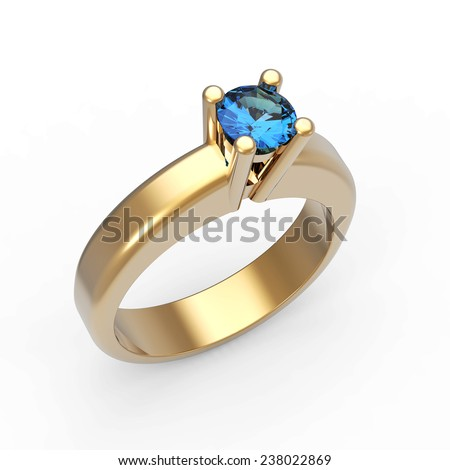 Round brilliant cut  sapphire solitaire engagement ring on white - stock photo