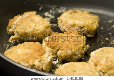 Round burgers made of pork minced meat - stock photo