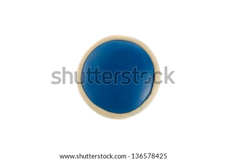 Round button from plasticine on a white background - stock photo