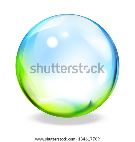 round button - green-cyan - stock photo