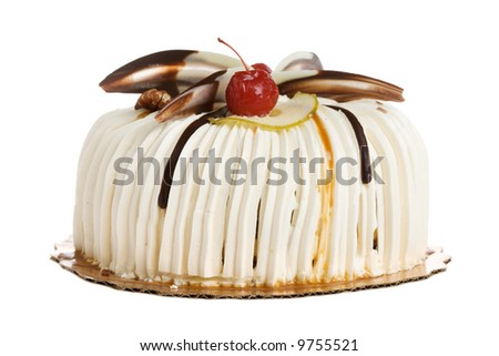 Round cake isolated on white background - stock photo