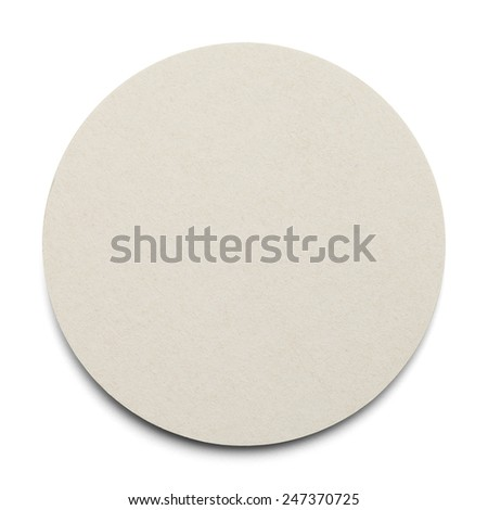 Round Cardboard Coaster with Copy Space Isolated on White Background. - stock photo