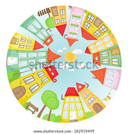 Round cartoon street with colorful houses. - stock photo
