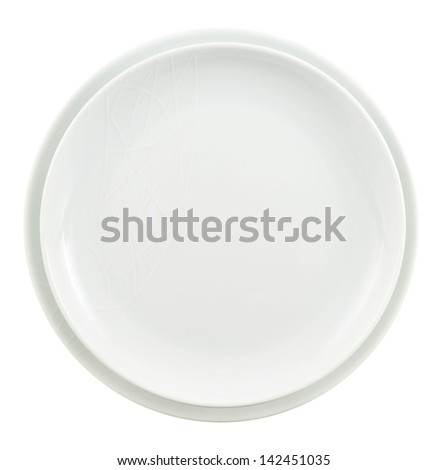 Round ceramic white copyspace plate dish stack isolated over white background, top view - stock photo