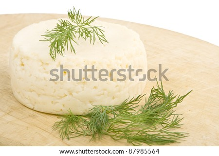 Round cheese , garnished with dill, on the cutting board.