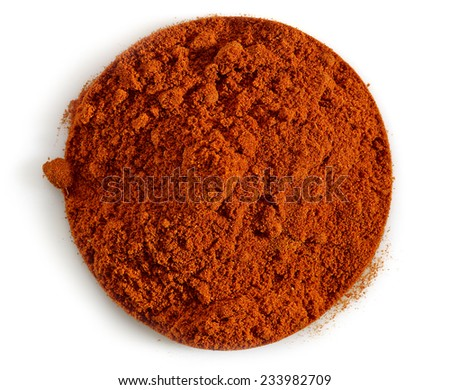 round chili powder isolated on a white background - stock photo