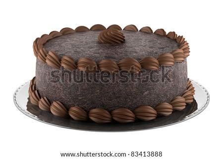 round chocolate cake isolated on white background - stock photo