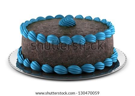 round chocolate cake with blue cream isolated on white background - stock photo