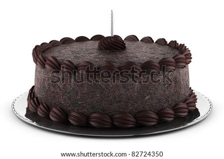 round chocolate cake with candle isolated on white background - stock photo