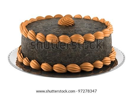 round chocolate cake with orange cream isolated on white background - stock photo