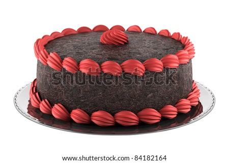 round chocolate cake with pink cream isolated on white background - stock photo