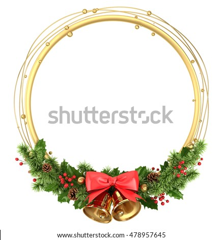 Round circle frame border with christmas decoration isolated on white.