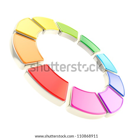 Round circle frame isolated on white background made of ten glossy rainbow colored segments with golden edging - stock photo