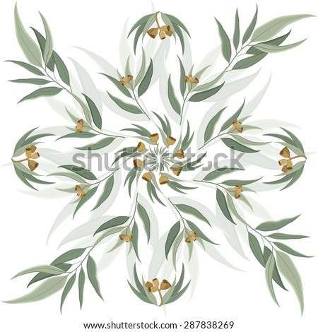 Round, circular abstract nature motif of eucalyptus leaves and seeds. Elegant background for website, packaging, digital scrapbook, wallpapers, textile and wrapping paper - stock photo