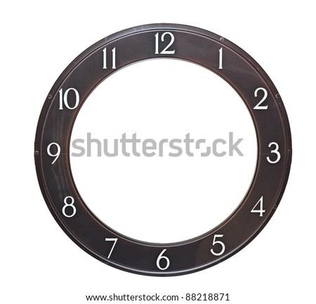 round clock face on white background - stock photo