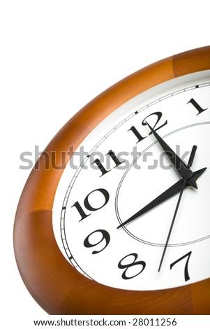 round clock showing nine isolated - stock photo
