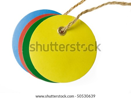 round color blank tag label with  string isolated on white background - stock photo