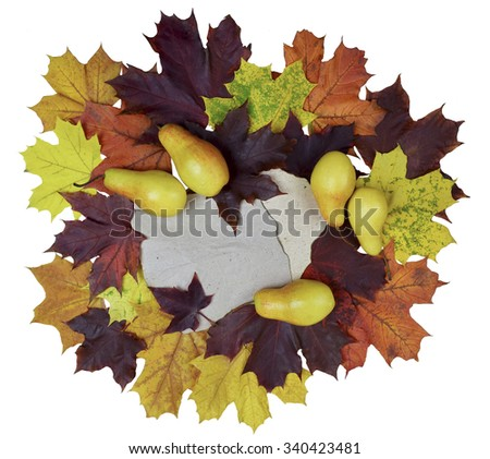 Round composition consist of autumn pears and colorful leaves isolated on white background. - stock photo