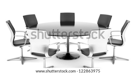 Round conference room isolated on a white background - stock photo