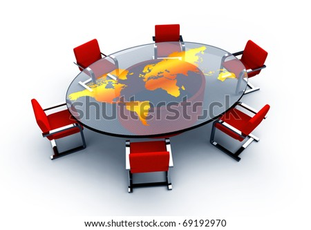 Round conference room with a map of the world. Isolated white background. - stock photo