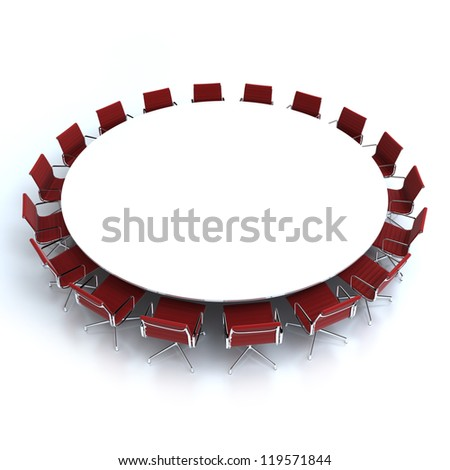 Round conference table surrounded by chairs