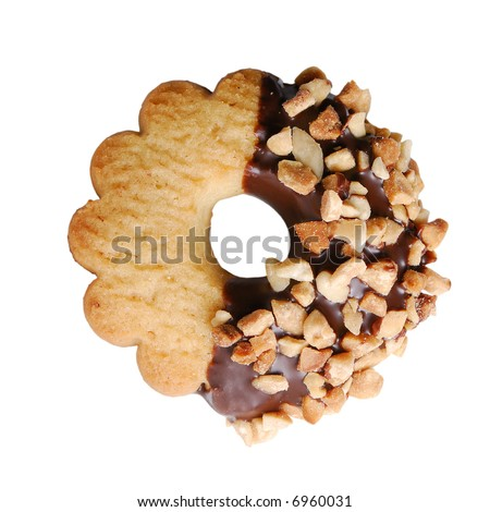 Round cookie on pure white background. Easy to use on your project - stock photo
