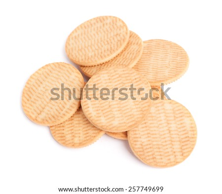 Round cookies isolated on white background - stock photo