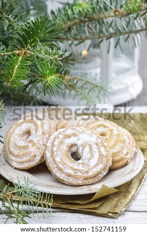 Round cookies on christmas eve table
