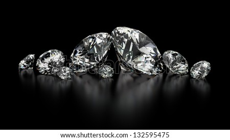 Round cut diamonds on black - stock photo