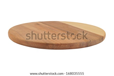 Round cutting board isolated on white background - stock photo