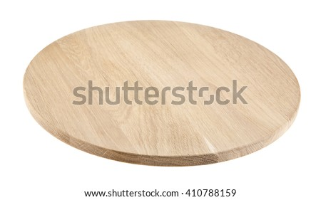 round cutting Board isolated on white background. Closeup - stock photo