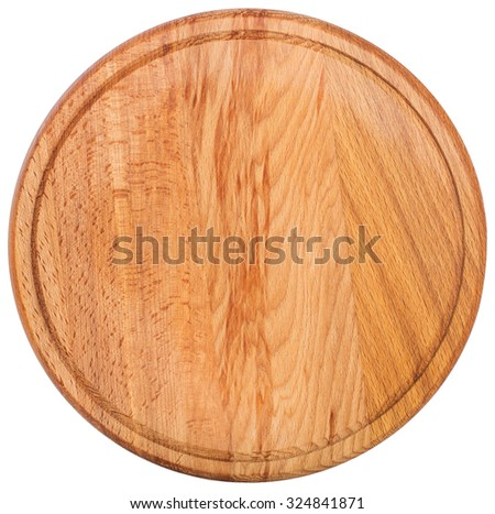 round cutting board. Top view - stock photo
