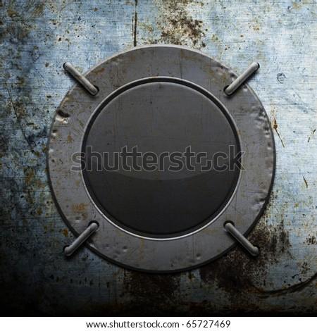 Round damaged metal electronic device - stock photo