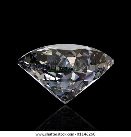 Round diamond isolated on black background. Gemstone - stock photo