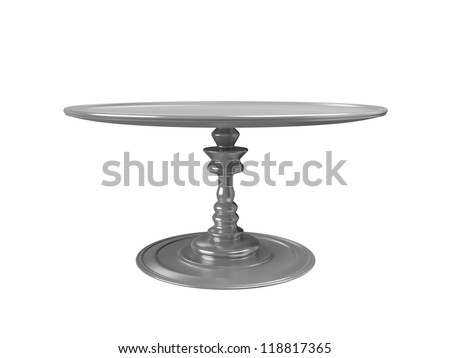Round dish on a pinch. Isolated on a white background. - stock photo