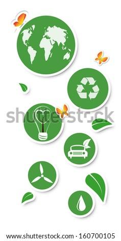Round eco stickers, isolated on white  - stock photo