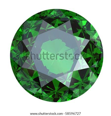Round emerald isolated on white background. Gemstone - stock photo