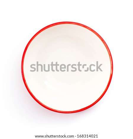 Round empty bowl with red edge. Top view, isolated on white background. - stock photo
