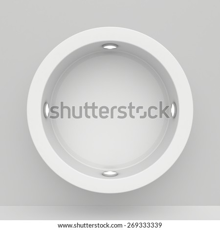 Round Exhibit Showcases with light sources. 3d render