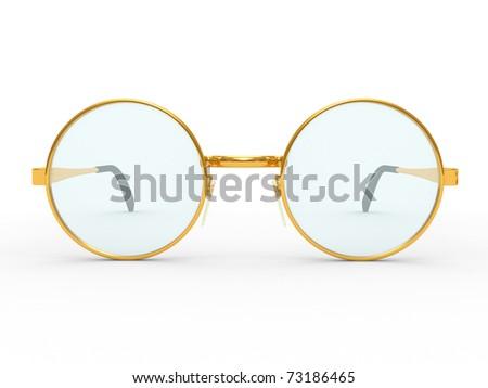 Round eye glasses isolated on white background - stock photo