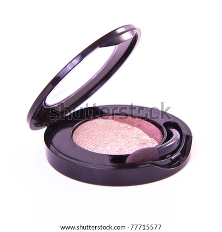 round eyeshadows set with brush on white background - stock photo