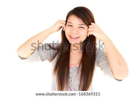 round face thai woman happy and hold her hair on white background