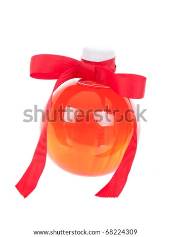 Round fancy plastic bottle on pure white background