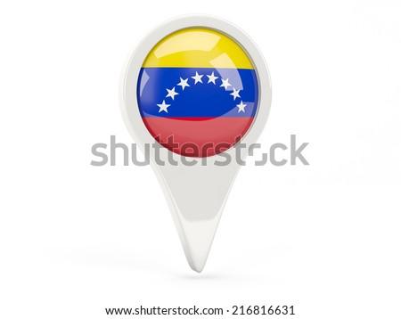 Round flag icon of venezuela isolated on white - stock photo