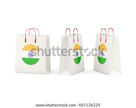 Round flag of india on shopping bags. 3D illustration